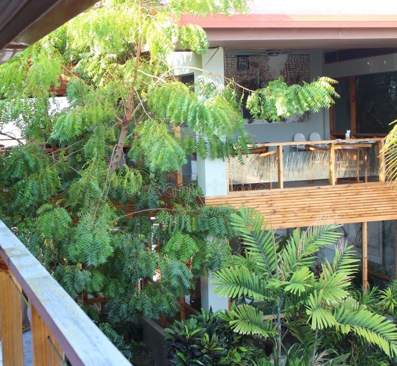 Sikt från balkong, terrassen som förbiser i borggården, och en restaurang som har träd och buskar arkivfoton