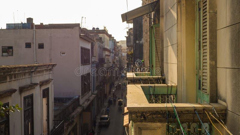 Sikt från balkongen av havannacigarrgatan royaltyfria foton