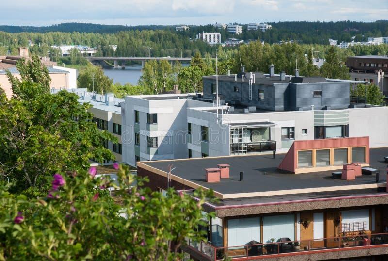 Sikt från berget till Mikkeli, Finland arkivfoton