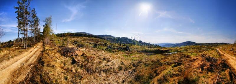 Sikt från Beskidy berg Polen arkivfoton