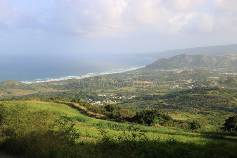 Sikt från Cherry Tree Hill, Barbados arkivfoton