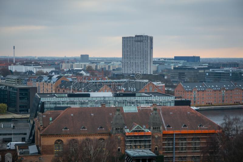 Sikt från Christiansborg slotttorn copenhagen denmark arkivbild
