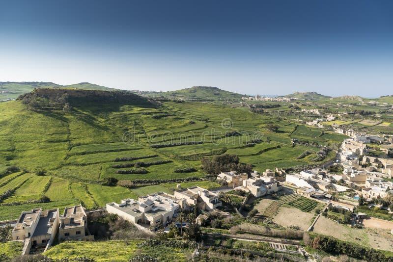 Sikt från citadellen av Victoria Gozo Malta arkivfoton
