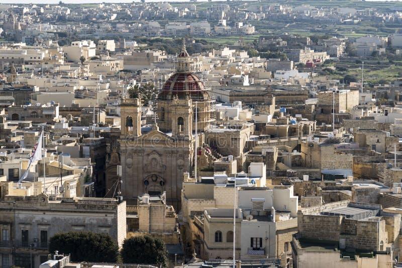 Sikt från citadellen av Victoria Gozo Malta arkivfoto