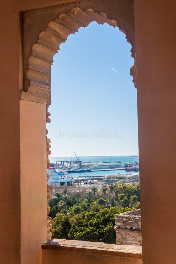 Sikt från den Alcazaba fästningen i Malaga fotografering för bildbyråer