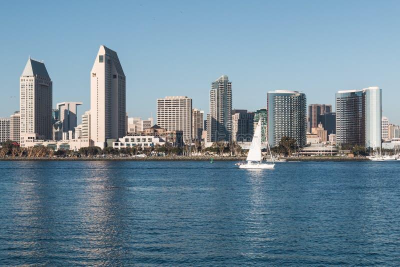 Sikt från den Coronado ön av i stadens centrum San Diego Skyline royaltyfri foto