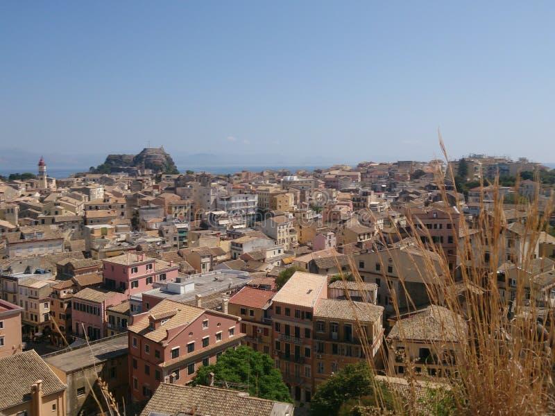 Sikt från den nya fästningen av den Korfu staden, Grekland arkivbild