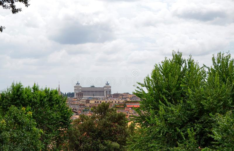 Sikt från den Pincio synvinkeln eller den Pinciano kullen Rome, Italien fotografering för bildbyråer