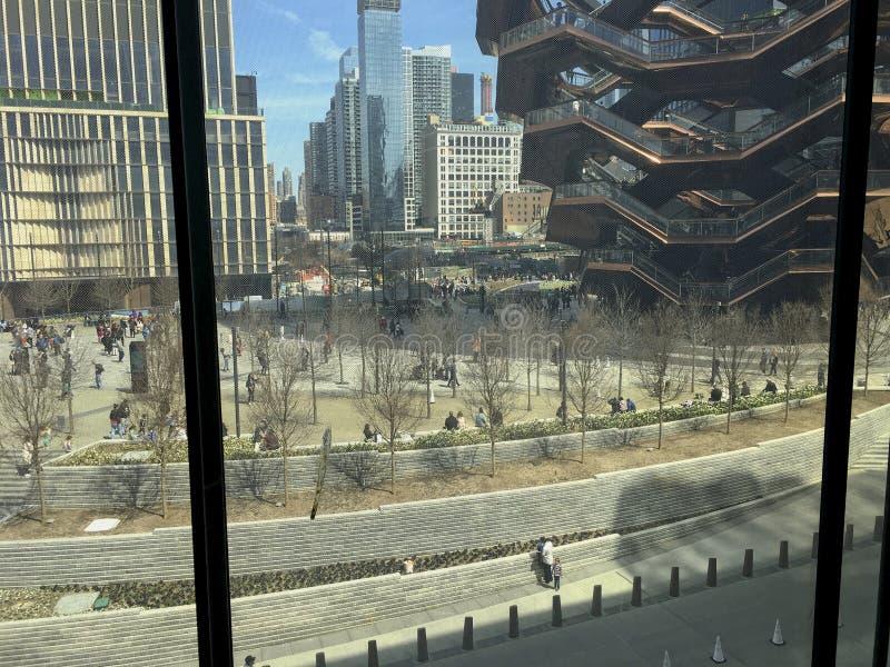 Sikt från den utgöt skärmen på Hudson Yards fotografering för bildbyråer
