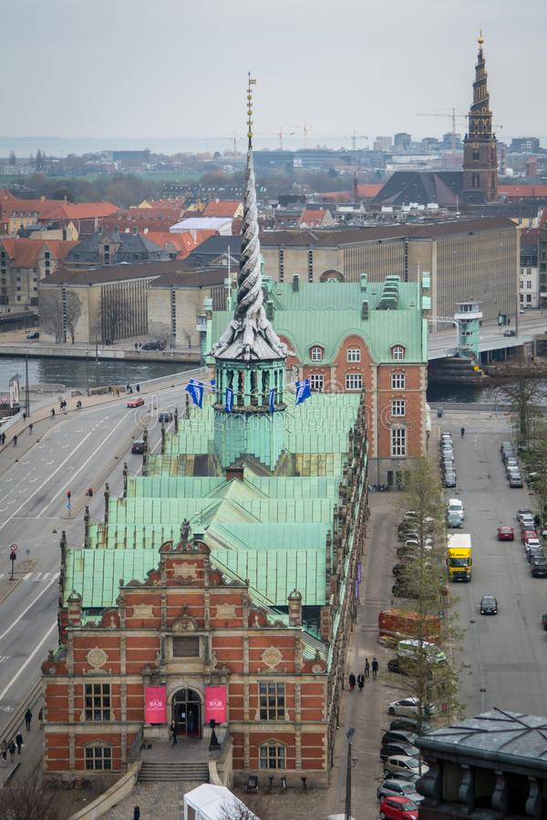 Sikt från det Christiansborg tornet copenhagen denmark royaltyfri foto