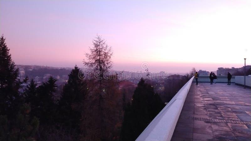 Sikt från det Corinthia hotellet i Prague, Czechia arkivbilder