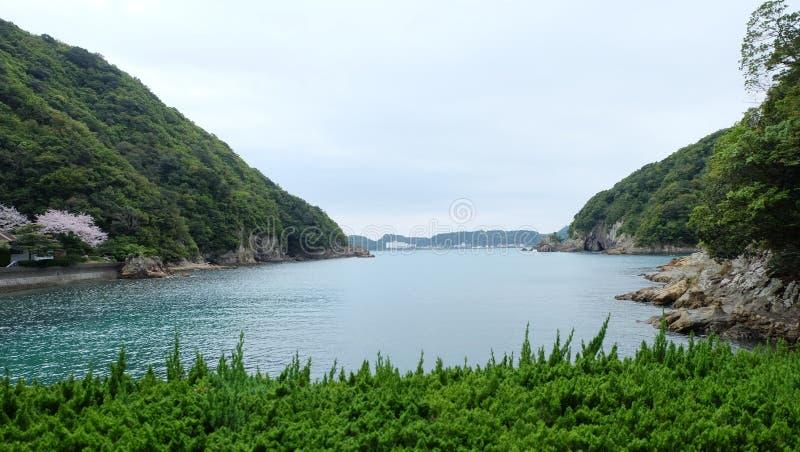 Sikt från det Nagisaya hotellet Wakayama arkivbild