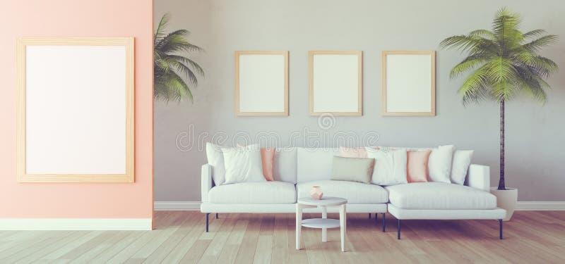 Sikt från det runda fönstret, blommor, pärlemorfärg rosa vägg för pastell royaltyfri illustrationer