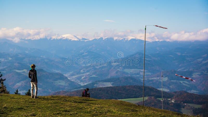 Sikt från det Shockl berget i Graz Turist- fläck i Graz Styria Ställen som ska ses i Österrike arkivfoto