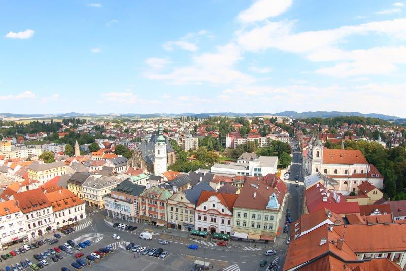 Sikt från det svarta tornet, Klatovy, Tjeckien arkivbilder