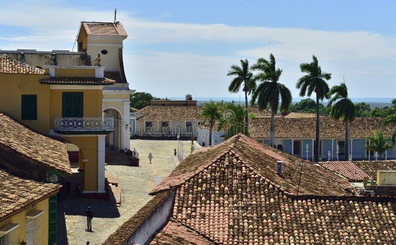 Sikt från ett torn av St Francis av den Assisi kloster och kyrkan cuba trinidad arkivfoto