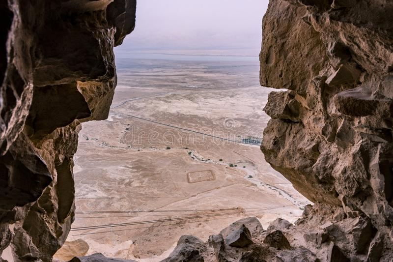 Sikt från fästning av Masada fotografering för bildbyråer