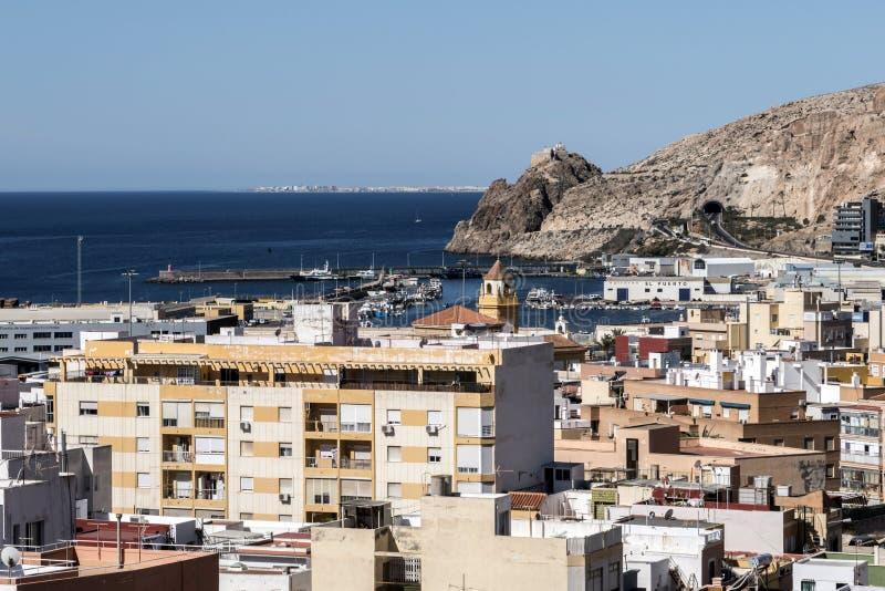 Sikt från fästningen av moriska hus och byggnader längs fotografering för bildbyråer