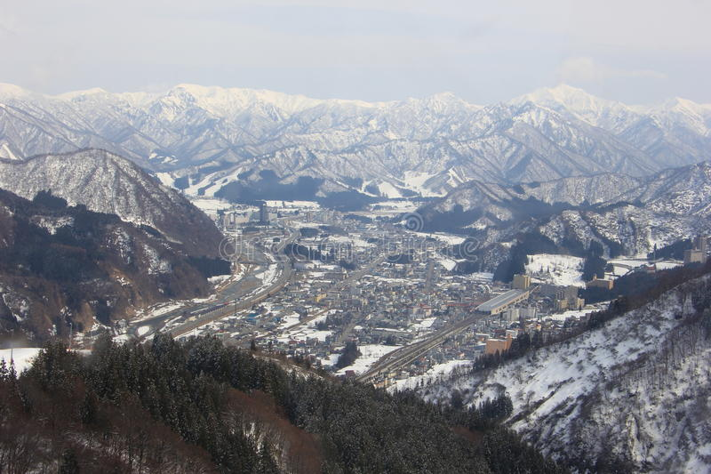 "Sikt från Gala Yuzawa Ski Resort †""Japan arkivfoton"