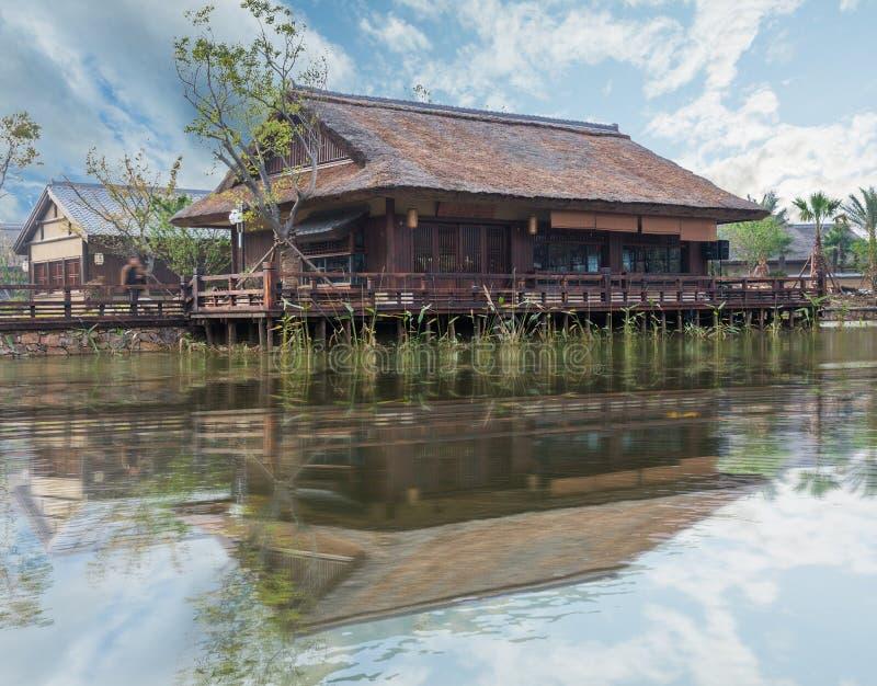 Sikt från Gubei vattenstad i Peking, Kina royaltyfri bild