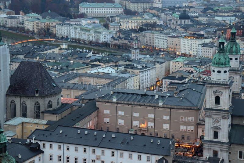Sikt från Hohensalzburg på Salzburg arkivfoto