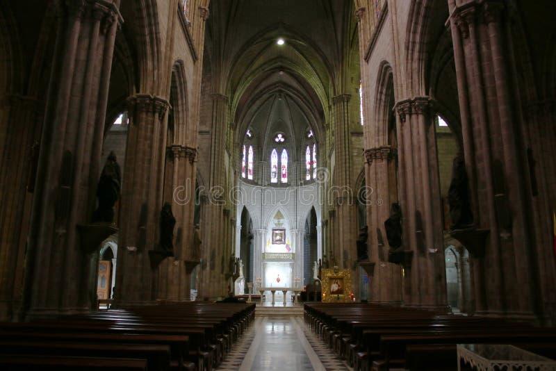 Sikt från ingången av inre av en stor neo gotisk catolic kyrka i Quito Ecuador royaltyfri fotografi
