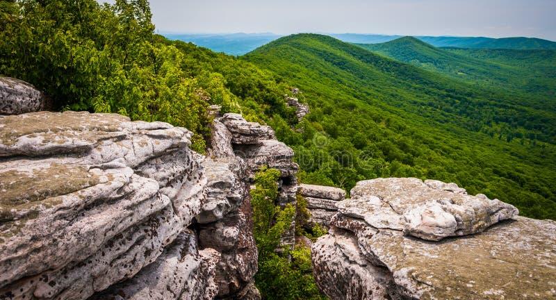 Sikt från klippor på stora Schloss, i George Washington National F royaltyfri foto