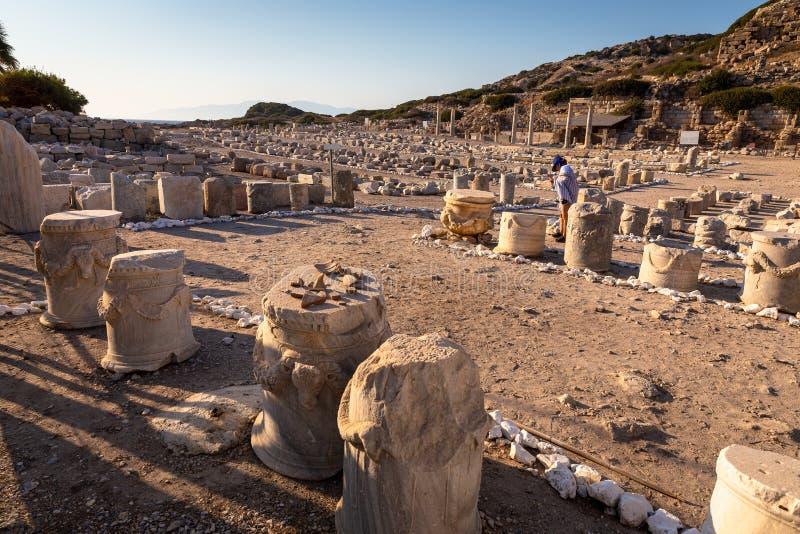 Sikt från Knidos Knidos eller Cnidus var en gammalgrekiskastad av Caria arkivbilder