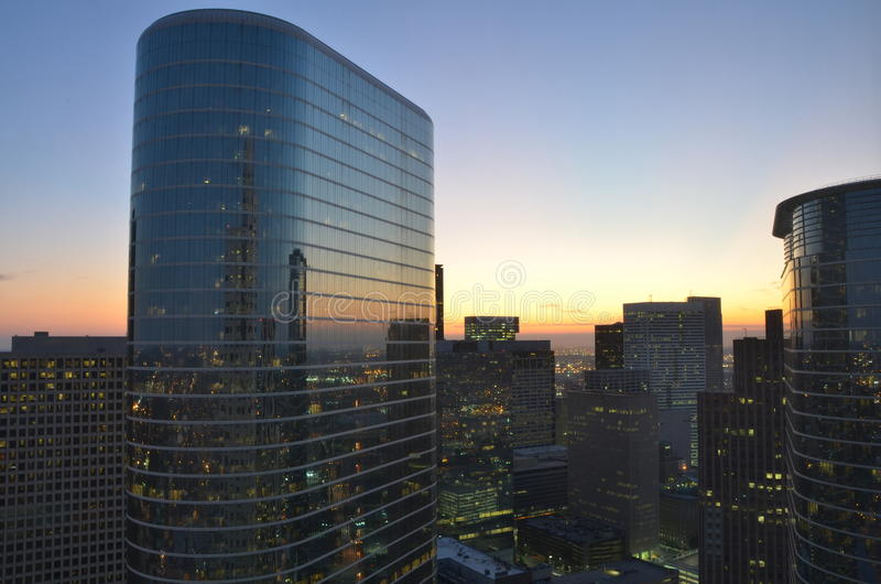 Sikt från mitt kontor av i stadens centrum Houston, Texas arkivbild