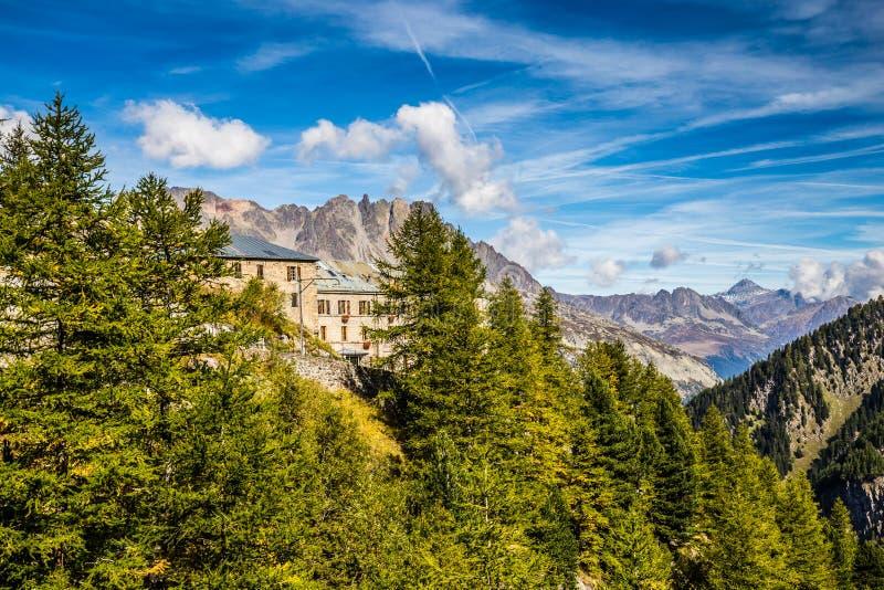 Sikt från Montenvers Mer de Glace Station-Chamonix royaltyfri fotografi