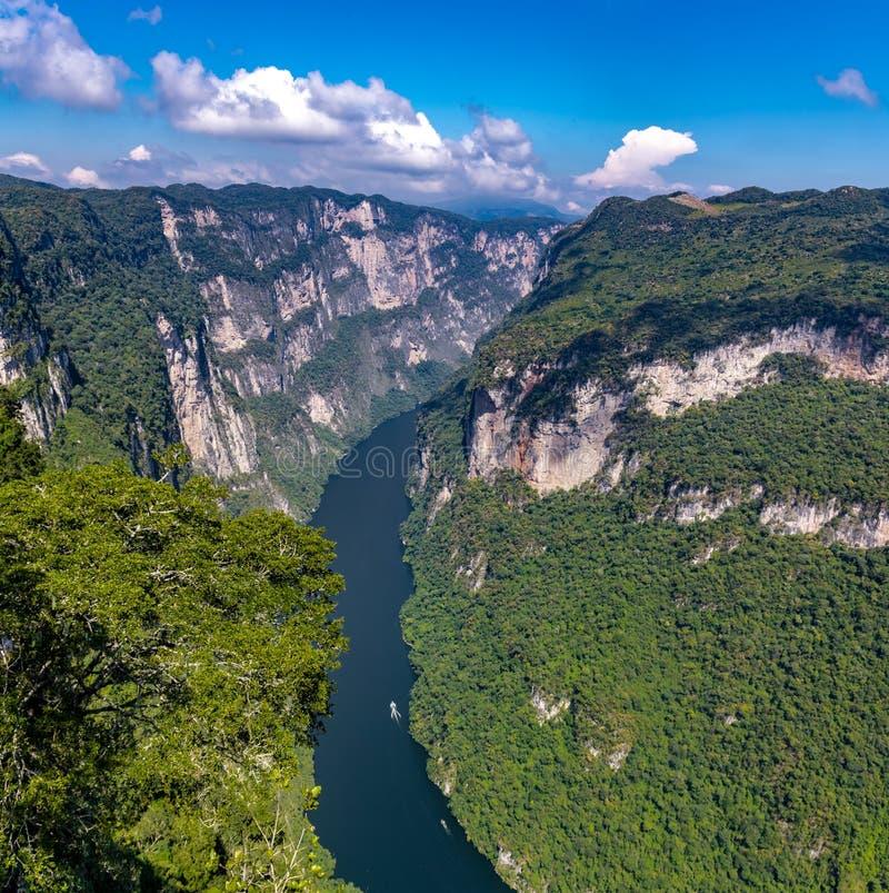 Sikt från ovanför den Sumidero kanjonen - Chiapas, Mexico arkivfoton