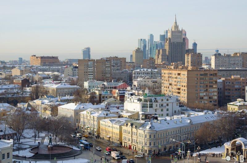 Sikt från ovannämnt av Moskva, Ryssland royaltyfria foton