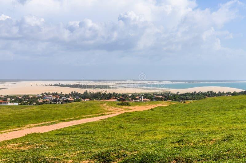 Sikt från ovannämnt i Jericoacoara, Brasilien fotografering för bildbyråer