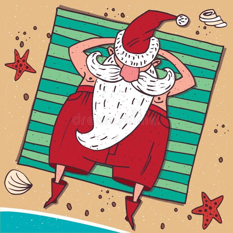 Sikt från ovannämnt på Santa Claus på stranden vektor illustrationer
