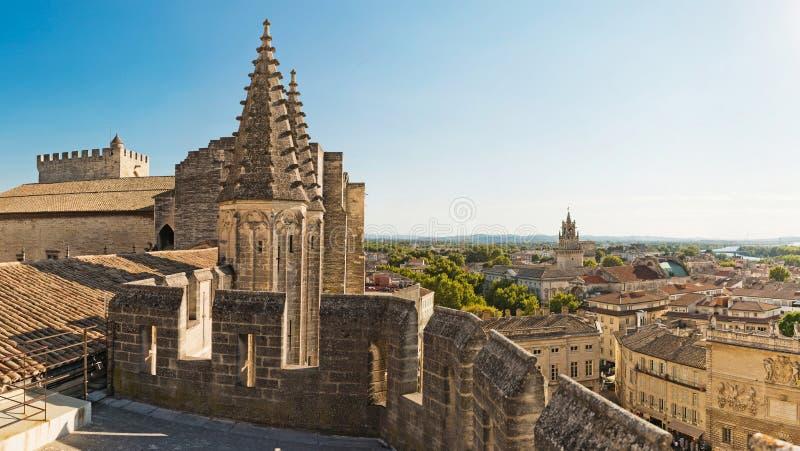 Sikt från påvlig slott i Avignon, Frankrike royaltyfria foton