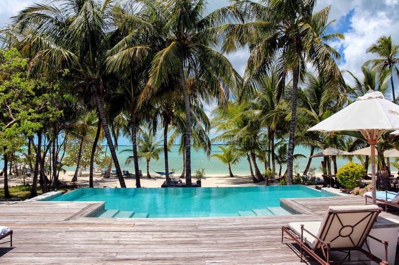 Sikt från pölen till stranden på Bahamas royaltyfri bild