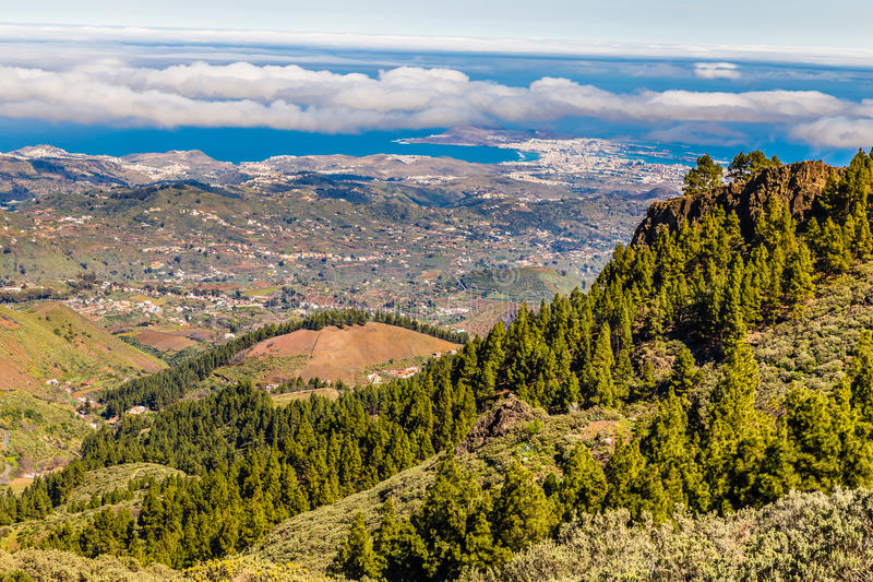 Sikt från Pico de las Nieves - Gran Canaria, Spanien arkivfoton