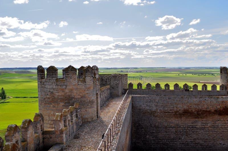Sikt från slotten av Montealegre de Campos, Valladolid, Spanien arkivfoton