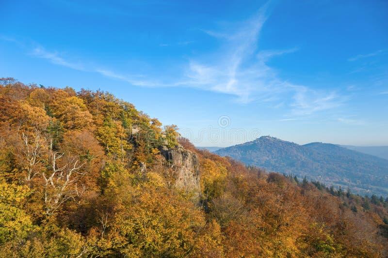 Sikt från slotten Hohenbaden till det Merkur berget i Baden-Baden royaltyfria bilder