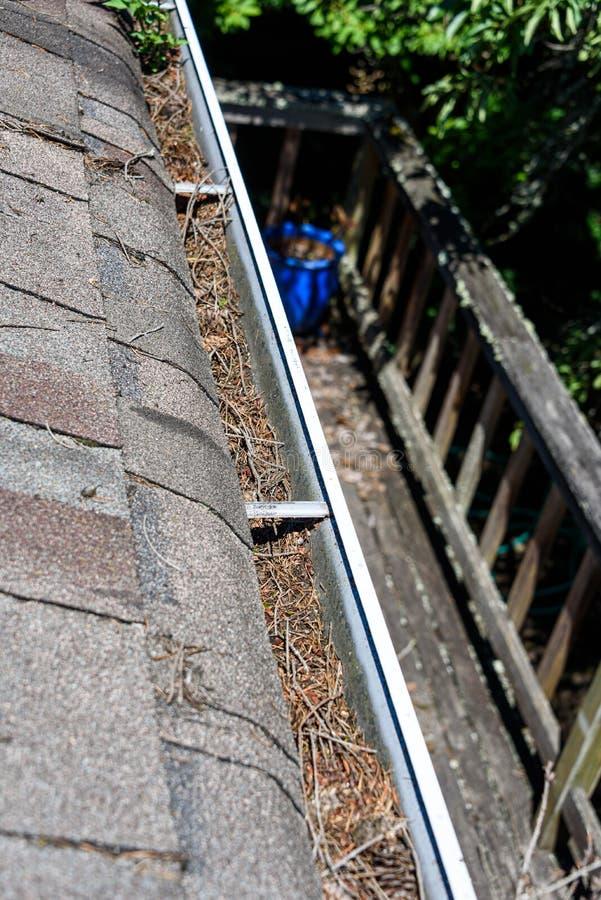 Sikt från tak av den asfalttaksinglar och avloppsrännan som fylls med trädskräp, däck och bakgård under, tid för avloppsrännaloka fotografering för bildbyråer