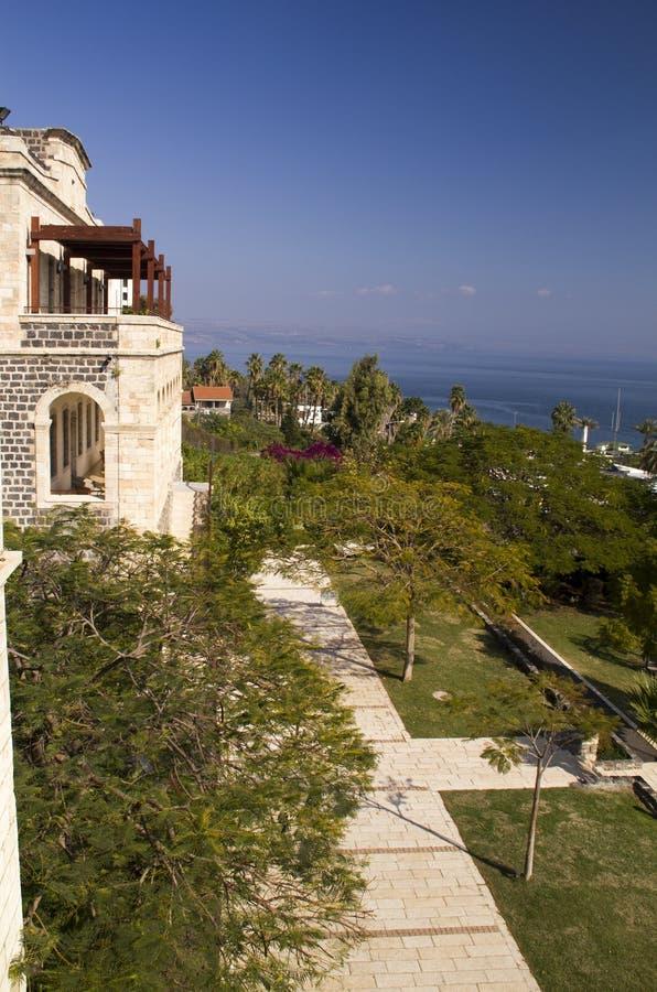 Sikt från Tiberiusen till havet av Galillee israel royaltyfria foton
