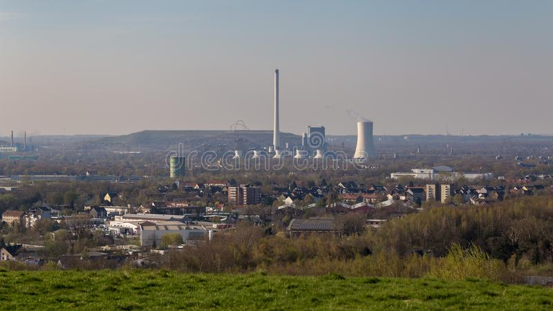 Sikt från Tippelsberg, Bochum, Tyskland arkivbilder