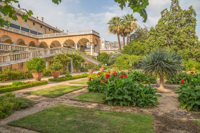 Sikt från trädgården av slotten för prins` s, slott för Andrea Doria ` s i Genoa Genova, Italien arkivfoton