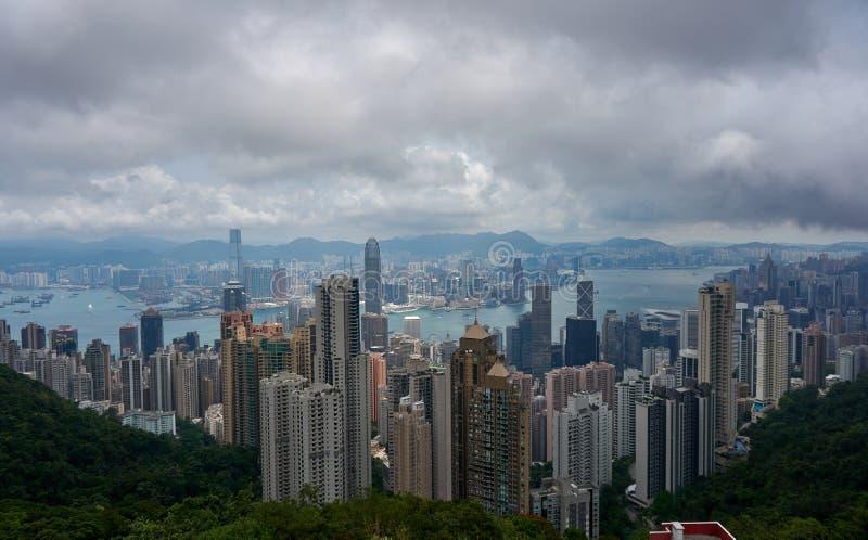 Sikt från Victoria Peak, HK arkivfoto