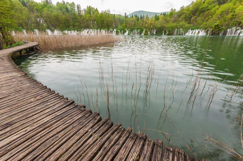 Sikt i Plitvice sjöarna arkivfoton