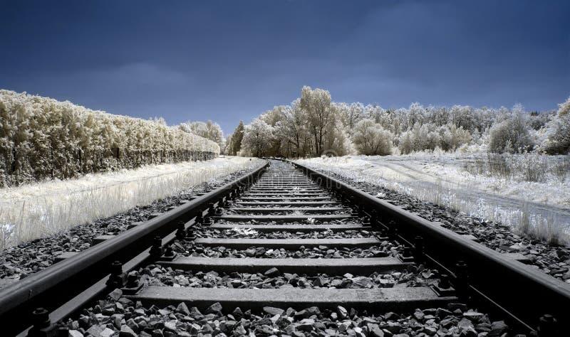 Sikt längs järnvägsspåren, infraröd bild royaltyfria foton