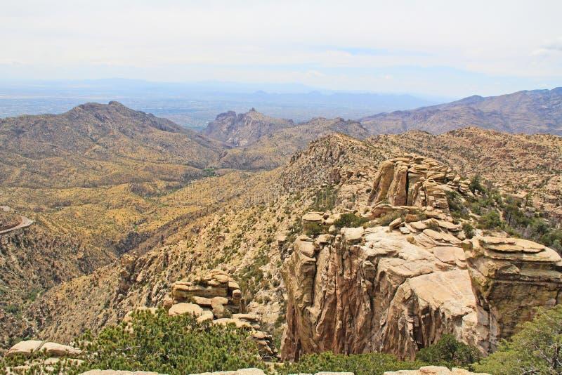 Sikt in mot Tucson från Windy Point Vista royaltyfria foton