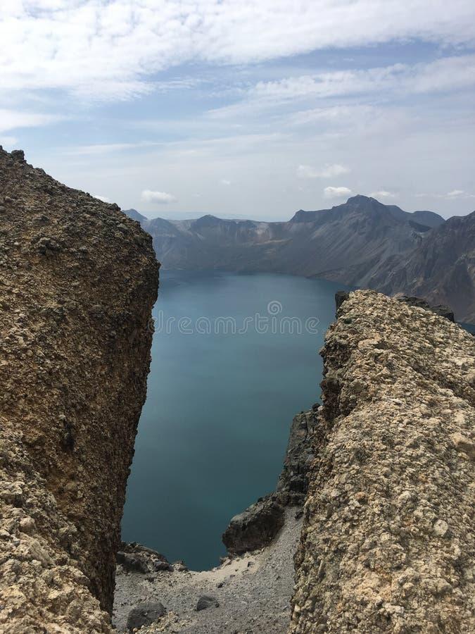Sikt och landskap för bra berg bästa på det Changbai berget arkivfoton