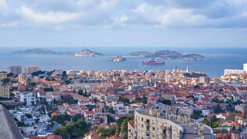 Sikt på ön Frioul Marseille Frankrike royaltyfria foton