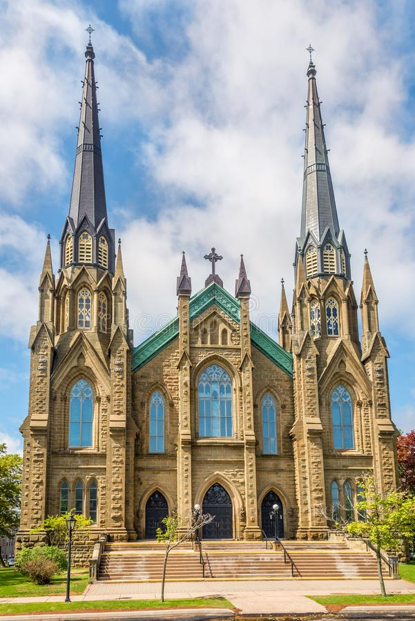 Sikt på basilikan av helgonet Dunstant i Charlottetown - Kanada arkivfoto